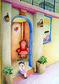 我的色鉛筆畫~進修班:可愛的家