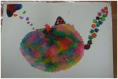 2012彩色墨水自由渲染畫~學生作品分享:活潑幻想的貓蟹(美惠)
