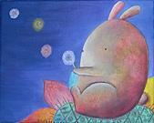 趣味蠟筆畫:兔子和我~沒有星星的夜空