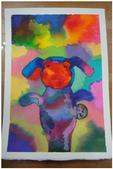 2012彩色墨水自由渲染畫~學生作品分享:偽裝兔子的青蛙(如玉)