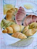 我的色鉛筆畫~進修班:早餐吃什麼呢??