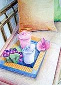 我的色鉛筆畫~進修班:休息一下吧~~