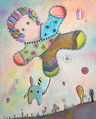 趣味蠟筆畫:兔子和我~帶著你飛