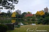 紅葉飄飄15日東京自由行--清澄庭園:21●廣闊的池塘內分佈有三座小島、再加之茶室式的典雅建築與映於水面的小島和樹影形成了庭園內一道亮麗的風景線10.J