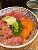 紅葉飄飄15日東京自由行--以滋味美妙的金槍魚三色丼結束快樂的行程:01●鮭魚、鮪魚,再加上金槍魚泥,讓這碗三色丼看起來既豐盛又好吃極了.JPG