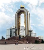 2019Amazing!穿越古絲路上的中亞五國之旅(7-5)--塔吉克斯坦首都杜尚別印象之旅:11●蘇聯統治時代,這裡矗立的是列寧雕像。獨立後,取而代之的是古波斯君主索莫尼 Sumoni的雕像.JPG