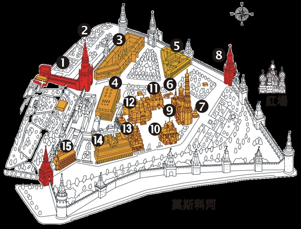 2018印象翻轉的俄羅斯奇幻之旅(2-5)--陰與陽、柔與剛交錯下的莫斯科之心「克里姆林宮」:06●藉著從官網上抓下來的鳥瞰圖,對克里姆林宮的印象溫故之新一番.PNG