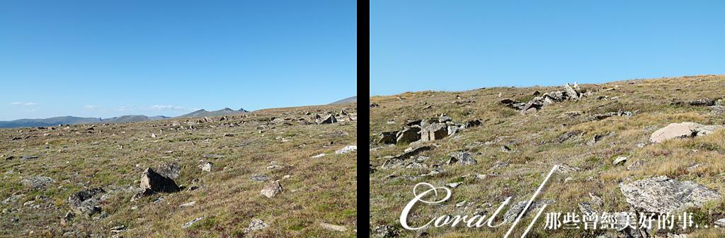 2019自駕隨性之旅(13)--100個死前必去景點之告別黃石國家公園後的苔原生態步道:06●儘管兩條步道風格稍有差異,相同地質的景觀還是一樣的,突出、裸露的岩石,和擁有堅韌生命力的地衣、小草與野