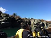 紅葉飄飄15日東京自由行--長瀞泛舟:27●早先抵達近終點站的遊客,絕對不會錯過自岩石上往下看的美景.JPG