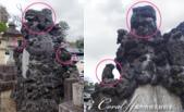紅葉飄飄15日東京自由行--成田山新勝寺:19●猛一看造型奇異的石雕,定睛觀察可發現其實上面有母獅和數個小獅.png