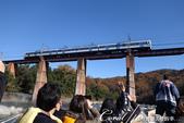 紅葉飄飄15日東京自由行--長瀞泛舟:17●遠處的橋墩上駛來一部將停靠長瀞的列車.JPG