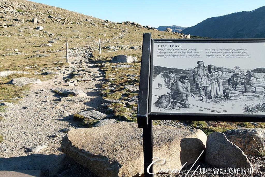 2019自駕隨性之旅(13)--100個死前必去景點之告別黃石國家公園後的苔原生態步道:21●老樣子,自然課上完總要來堂歷史課,這條未經現代化鋪設的老路就做 Ute Trail,Ute指的時很早期住在北美一帶的尤