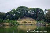 紅葉飄飄15日東京自由行--清澄庭園:16●廣闊的池塘內分佈有三座小島、再加之茶室式的典雅建築與映於水面的小島和樹影形成了庭園內一道亮麗的風景線05.J