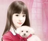 可愛女孩:抱著狗狗ㄉ可愛女孩