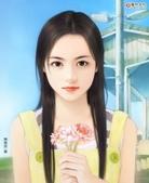 可愛女孩:拿著花ㄉ女孩