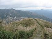 基隆山:14登頂前回望步道來時路及九份山城.jpg