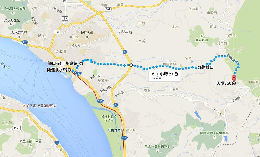 滬尾櫻花大道走春:捷運淡水站至滬尾櫻花大道路線圖