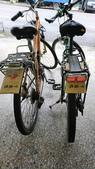2019 - 228連假 - 花蓮流浪夾腳拖車隊(上):20190301-一早阿星就忙著加工腳踏車,用撿來的紙箱裝上自製擋泥板,不用再怕被泥濺到背上了👍