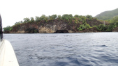 20170405 Ambon Diving 安汶潛水趣:經過一陣顛簸的船程(猜大約半小時吧),到達Pintu Kota,這兒浪平很多,安心不少