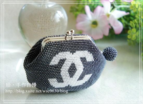 手工珠包:11/0圓珠系列:雙C-灰底白字